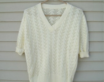 Vintage Pointelle Knit Short Sleeved Summer Sweater
