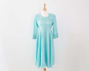 Vintage Cotton Mint Summer Dress with Embroidery and Pleat Details