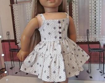 Ruffled Sundress, Sundress,  Doll Dress, 18 inch Doll Clothes