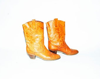 Vintage Toole Leather Boots , Tan Leather Booties sz 8