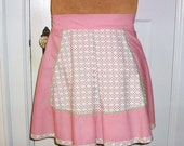 Vintage Apron with Pockets Pink and White Hostess Apron Short Kitchen Cover Mint Green Rick Rack