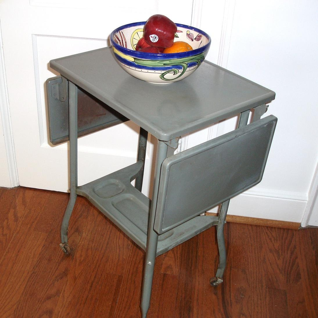 Vintage Metal Typewriter Table Industrial Rolling by WhimzyThyme