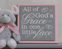 Pink and Gray Nursery Signs - All Of Gods Grace In One Little Face - Purple Baby Girl Nursery Decor, God Grace Wood Sign Unique Baptism Gift