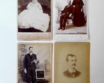 Antique Victorian sepia CDV studio portrait photographs