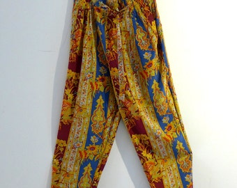 Vintage pure silk boho Indan floral pattern pants, drawstring waist