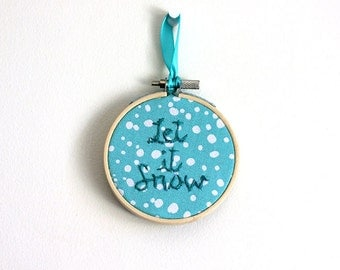 Christmas Ornament:  Embroidery Hoop ornament- 3 inch