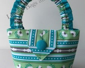 Little Girls Bag in Turquoise/Green/Grey fabric.