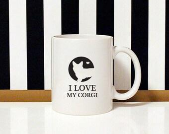 I love my dog - I love my Corgi - 11oz Coffee Mug - Dog Lover - Corgi dog