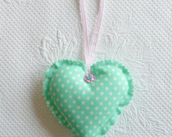 Turquoise Polka Dot Hanging Heart Ornament Fabric Hearts Gift Tag europeanstreetteam