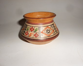 Pottery Native American Vintage Vase Indigenous Red Clay Intricately Hand Painted