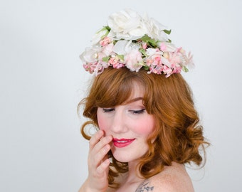 1950s vintage hat / flower hat / Pixie