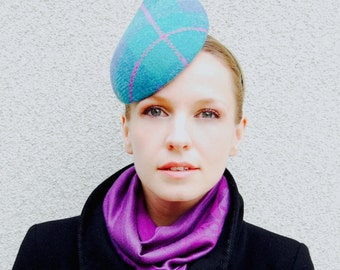 Teal Blue Harris Tweed checked Teardrop Shaped Modern Fascinator Hat
