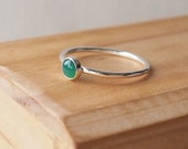 Green Silver Ring, Green Agate Sterling Silver Ring, Green Jewelry