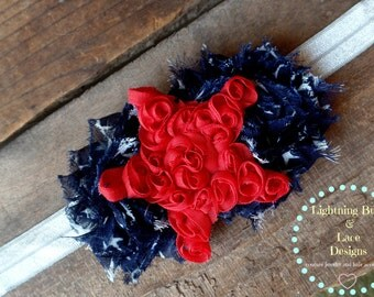 SALE SALE Vintage Shabby Patriotic Fourth of July Red White and Blue Star Girls Elastic Headband