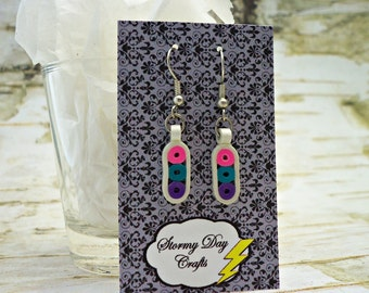 Quilled Earrings, Paper Bead Earrings, White Earrings, Gift For Her, First Anniversary Gift, Teal Earrings, Purple Earrings, Easter Earrings