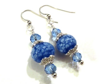 Blue Lampwork Earrings, Blue Earrings, Glass Earrings, Lampwork Jewelry