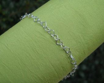 Bracelet - Sterling Silver Valentine Hearts Bracelet - Heart Size 4 mm - Silver Chain Bracelet