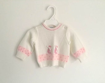 1970s baby girls penguin and heart puff sleeve sweater