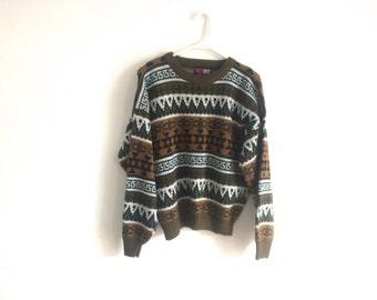 1980s SOUTHWESTERN / HIPSTER geometric tribal ski lodge sweater