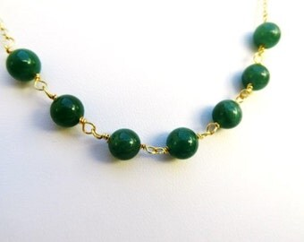 Green Aventurine Necklace in Gold. Aventurine Necklace.Gold Green Necklace.Bridesmaid Jewelry.Bridesmaid Gift.Christmas Gift.Sister.Daughter