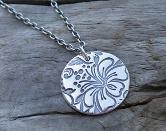 Hibiscus Circle Fine Silver Artisan Handcrafted Silver Necklace Jewelry.  Sterling Silver Chain.