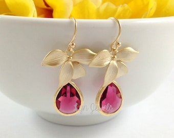 Fuchsia Teardrop Flower Earrings, Pink Glass Drops Gold Floral Earrings, Garden Wedding Bridesmaids Earrings