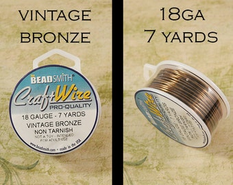 18ga Vintage Bronze Craft Wire - Non Tarnish - from Bead Smith - 7 Yards