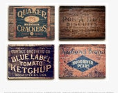 Wood Signs: Rustic Kitchen Decor, Wood Panel Kitchen Art, Vintage Crates, Ready to Hang Kitchen Wall Art, Planked Wood Rustic Kitchen Art.