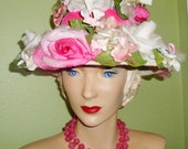 Vtg GIMBELS Pink & Pearl White ROSES Flowers Velvet Ribbon Collectible Fashion Hat Decor Wearable