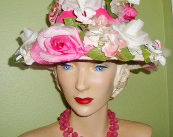Vtg GIMBELS Pink & Pearl White ROSES Flowers Velvet Ribbon Collectible Fashion Hat Decor Wearable
