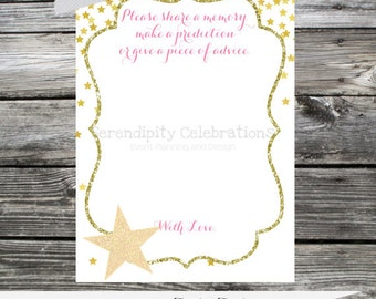Printing Service: 12 Printed Wish Cards -Made 2 Match Any Theme In Our Shop -Twinkle, Twinkle -Stars -1st Birthday -Pink and Gold -Glitter