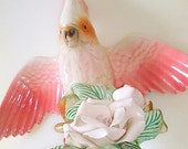 Antique Crested Cockatoo Figurine Cockatiel Parrot Bird Statue Large Exotic Tropical Maddux/CA Pottery