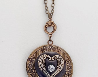 Angel Wings Heart Locket with Sculpted clay and a Crystal - Antiqued Brass Setting