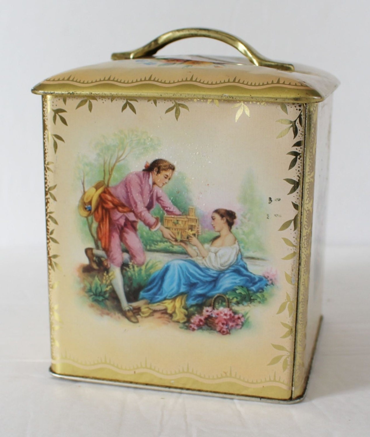 Decorative Metal Boxes With Lids : Vintage tin box decorated ware lid birds metal container