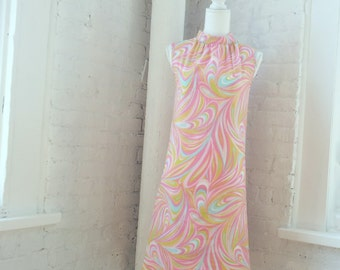 1960s Pink Green Multicolor Swirl Shift Dress 60s Vintage Aldens Psychedelic Mod Op Pop Art Small Sundress Summer Festival Rainbow Day Dress