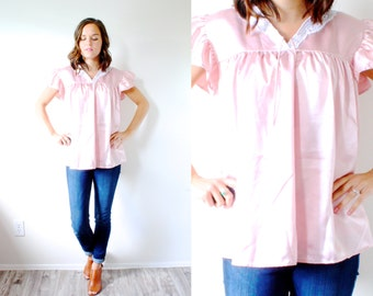 Vintage boho pink silk lace top // pink silk blouse // slouchy top // summer boho blouse // silky pink blouse // nighty top // lace pink top