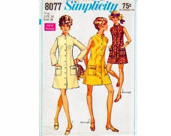 1960s Ladies Coat Dress Stand up Collar Bust 36 Size 14 UNCUT 60s Vintage Sewing Pattern mod dress scooter girl fashion Simplicity 8077