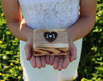Wood Ring Box Rustic Torched Ring Bearer Box Ring Keepsake Box Rustic Wedding Ring Box Bridal Shower Gift Country Barn Wedding Decor