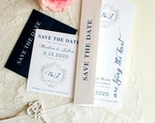"Navy Monogram Wedding Save the Dates Customizable with Script Fonts, White, Navy Blue, Elegant Script Fonts - ""Classic Love"" Save the Dates"