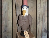 Primitive folk art eagle make do Uncle Sam hat made in USA wood base hafair ofg faap