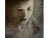 Masks On, a portrait of a woman, original fine art print, texture screen, brown cream blue,
