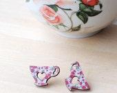 Floral Tea Earrings | Tea Cup | Tea Lover | Wooden | Nickel Free