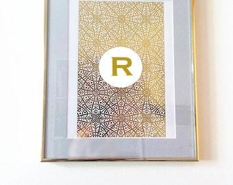 Gold Foil Custom Initial Pattern Print / Not digi / Decorative Pattern Gold Foil Print for 8x10 frame Custom Monogram Personalised Initial