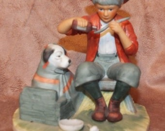 """1974 Norman Rockwell """"A Boy and His Dog"""" Gorham Figurine"""