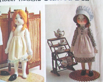 Holly Hobbie Doll & Doll Clothes Pattern 20 inch doll, Simplicity 6006, Stuffed Rag Doll Pattern Doll Dress Slip Pinafore Bonnet 1970s UNCUT