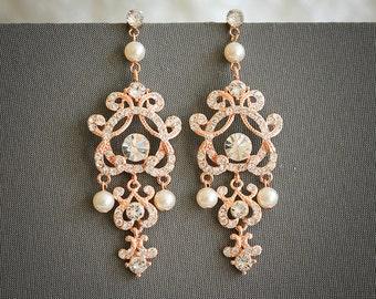 Rose Gold Wedding Earrings, Swarovski Pearl and Crystal Bridal Earrings, Vintage Style Filigree Chandelier Earrings, Wedding Jewelry, HERA