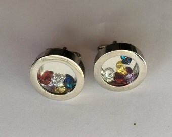 BIRTHSTONE FILLED CUFFLINKS / Father's Day Cuff Links / Personalized cufflinks for Dad or Grandfather / Memory cufflinks / Gift boxed