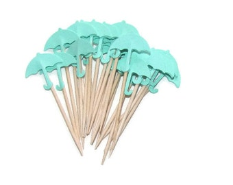 24  Mint Green Umbrella Party Picks, Cupcake Toppers-Gender Neutral