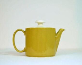 Vintage Sheffield Serenade Teapot Mustard Golden Ribbed Design