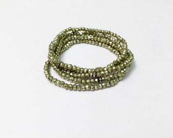 Green Pyrite Beaded Bracelets